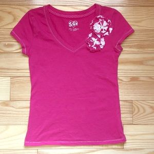 Justice Pink V Neck Tee with Flowers